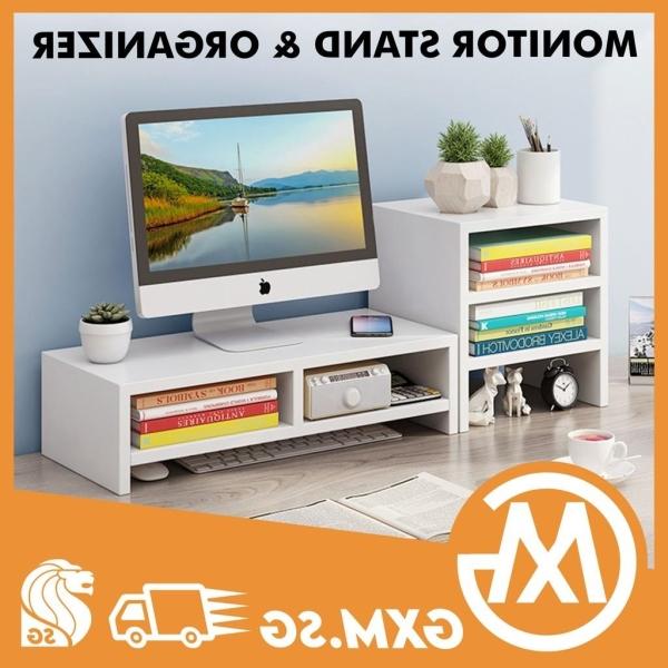 XIMI Monitor Stand Riser Ergonomic Design with Shelf Storage Wide Organizer Keep Desktop Workplace Tidy for Office Home