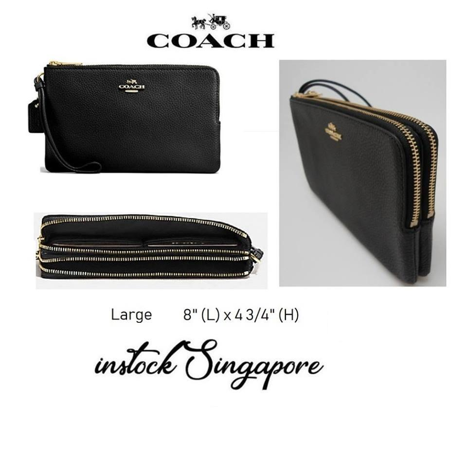 Authentic Coach DOUBLE ZIP WALLET IN POLISHED PEBBLE LEATHER (COACH F87587) GOLD/BLACK