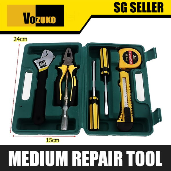 SG Seller VOZUKO 8 Pcs. Repair Tool Combination Package Mixed Tool Set Hand Tool Kit with Plastic Toolbox Storage Case [H105-2