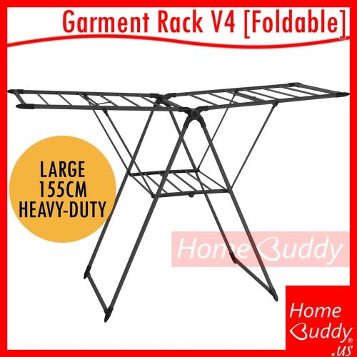 Garment Foldable Drying Rack V4 [large 155 Heavy-Duty]_ Ready Stocks Sg. Reach You 2 To 5 Work Days_ Homebuddy_ Acev Pacific_ Laundry Drying Rack By Acev Pacific Pte Ltd.