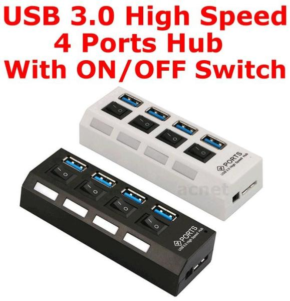 USB 3.0 High Speed 4 Ports HUB With ON/OFF Switch Expansion Adapter 4U