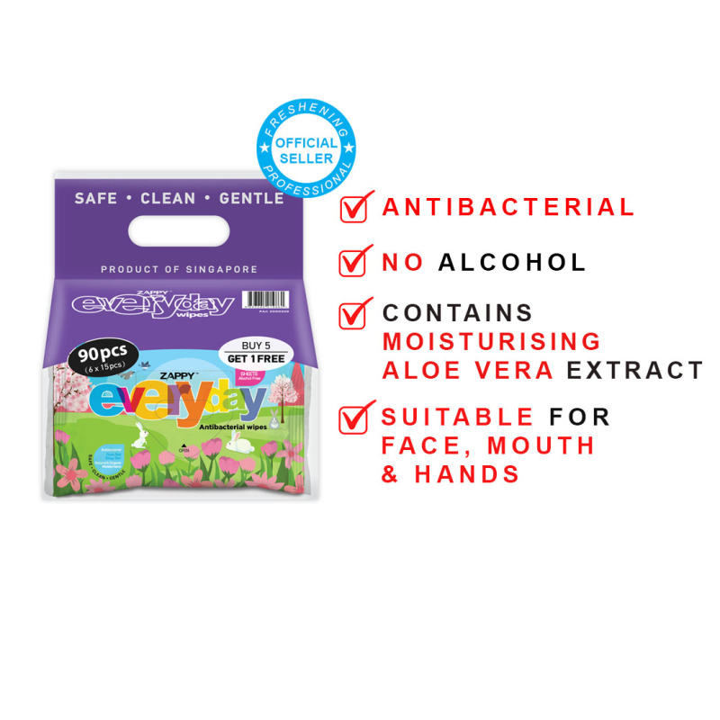 Buy Zappy Everyday Mini Antibacterial Wet Wipes 8s (120 packets) Singapore