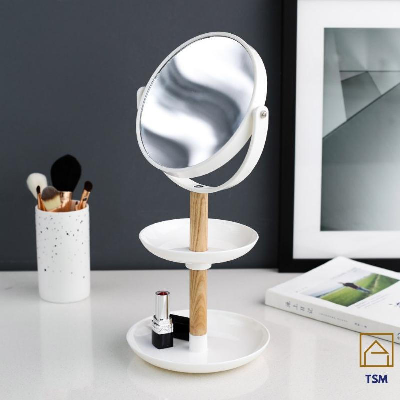 Mirror Make up Jewelery Cosmetic Organizer Stand For Desk Double Mirror Sided TSM
