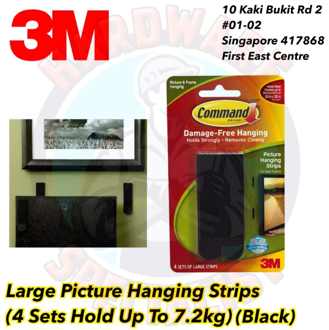 3M Command Large Picture Hanging Strips 17206 Black (4 Sets/Pack)