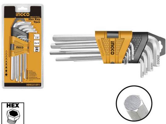 INGCO I-HHK11091 9pcs Hex Key Set, Cr-V, 1.5-10mm