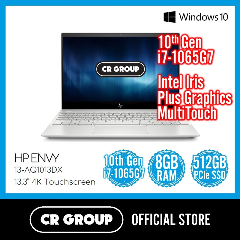 [Same Day Delivery] HP Envy 13-AQ1013DX 13.3 MultiTouch | Intel Core i7-1065G7 | 8GB DDR4 RAM | 512GB PCle SSD | Intel Iris Plus Graphics