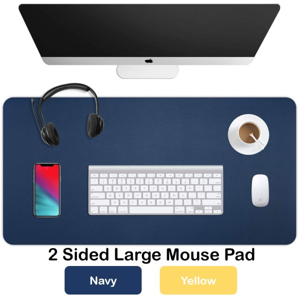 Gaming Mouse Pad - Large Desk Protector PU Leather Waterproof Laptop Mat for Office and Home