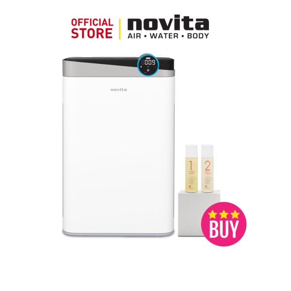 novita 4-In-1 Air Purifier A4S with 2 bottles of Air Purifying Solution Concentrate + FOC 2 x novita Surgical Respirator R2 Earband (100pcs in a box), Size M Singapore