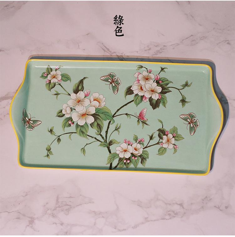 Chinese Style Famille Rose Porcelain Tea Tray Rectangular Ceramic Storage Tray Washed Supplies Decorative Plates Desktop Organizing