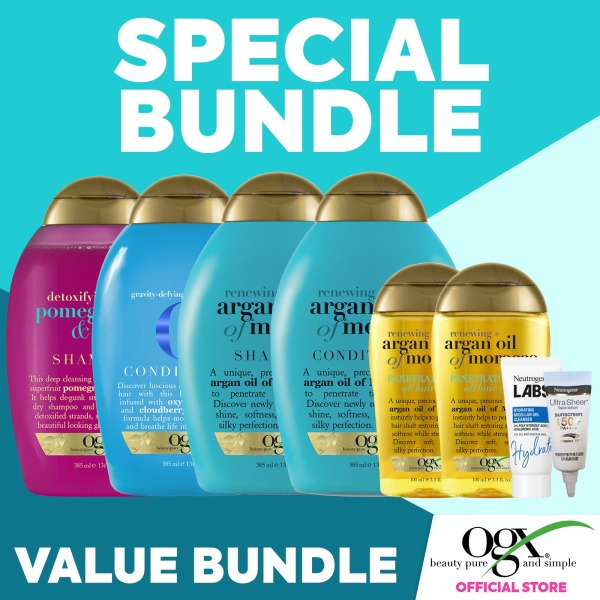 Buy [Special Bundle] OGX Renewing Argan Oil Morocco, OGX Gravity-Defying and Hydration, OGX Pomegranate & Ginger, Neutrogena Face Lotion and Hydrating Cleansing Gel Singapore