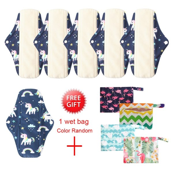 Buy 6pcs Waterproof Cloth Sanitary Pads Women Reusable Panty Liner with 1 Wet Bag Sanitary Pads with Organic Bamboo Inner Unicorn Singapore