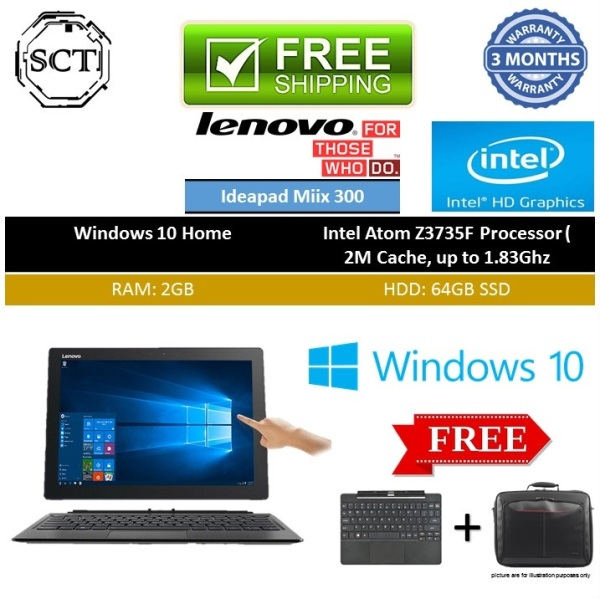 (Refurbished) Lenovo IdeaPad Miix 310 2 in 1 10 inch tablet laptop pc - with full sets keyboard & tablet - win10 / atom quad core cpu X5-Z8350 / 2gb ram / 64gb ssd hdd / touch-screen / Bluetooth / wifi / webcam