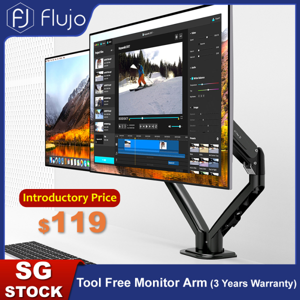 [Pre-Order] Flujo Tool Free Dual Monitor Arm Ergonomic Desk Mount Tool Free Fully Adjustable VESA Mount with C-Clamp/Grommet Fits 17-27 LCD/LED Screen, Support up to 7kg-Ship From 9th September