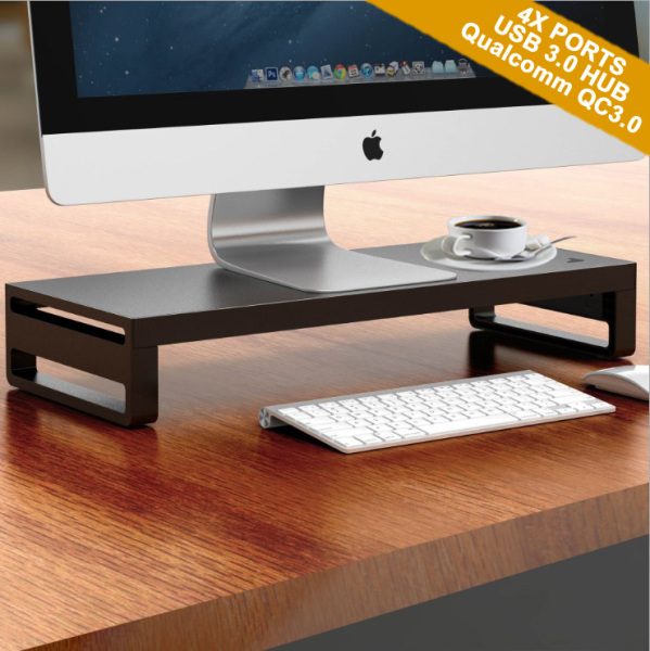 (Ready Stocks in SG) Aluminum Alloy Computer Monitor Laptop Riser Stands Shelf Organizer with 4 Ports Powered USB 3.0 Hub