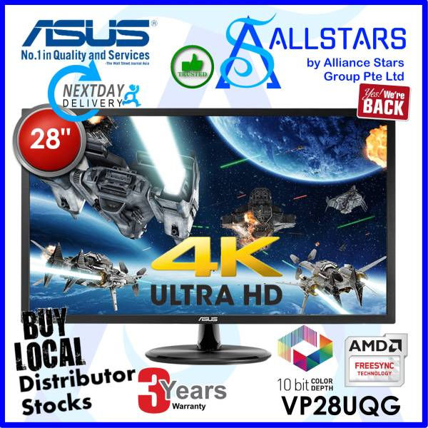 (ALLSTARS : We are Back Promo) (*Next Day Delivery ! *) ASUS VP28UQG 28 inch 4K Monitor, 1ms, 10Bit Color, TN, 60Hz, Adaptive-Sync/FreeSync™, Flicker Free, Blue Light Filter (Warranty 3years on-site with Asus SG)