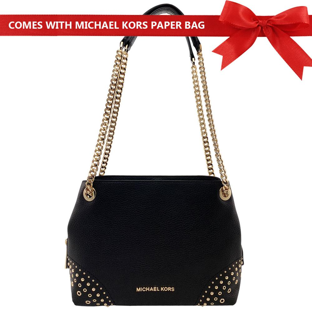 a04cf4dc462c Michael Kors Shoulder Bag Jet Set Medium Chain Messenger Studded Leather Shoulder  Bag Handbag Mulberry Red