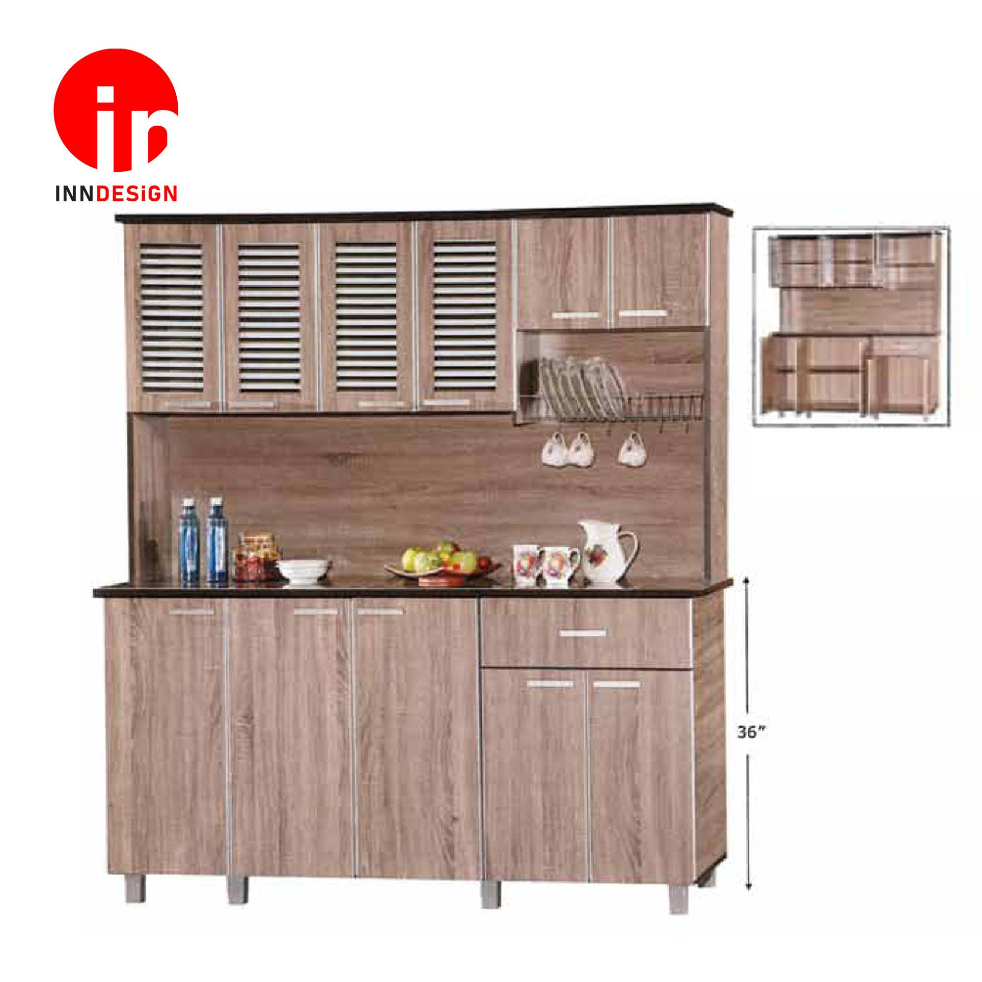 Cassiva 5 Doors Kitchen Cabinet With Top (Free Delivery and Installation) (Dark Oak)