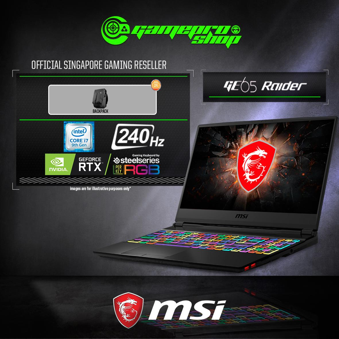 9th Gen MSI GE65 RTX2060 Raider 9SE - 077SG ( I7-9750H / 16GB / 1TB SSD / W10 ) 15.6 FHD with 240HZ GAMING LAPTOP *COMEX PROMO*