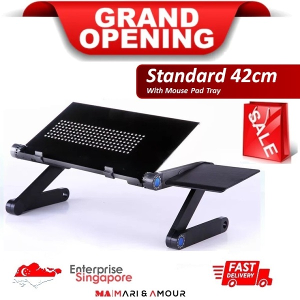 ★ 420 x 263 mm Foldable Laptop Table with Mouse Pad, 360°Adjustable Office Stand-up Stand, Adjustable Reading Holder, Ergonomic Laptop Bed Desk w/ mouse pad, Couch Desk, Portable Notebook Workstation Sofa Lap Tray Stand with Mouse Pad ★SG Ready Stock★