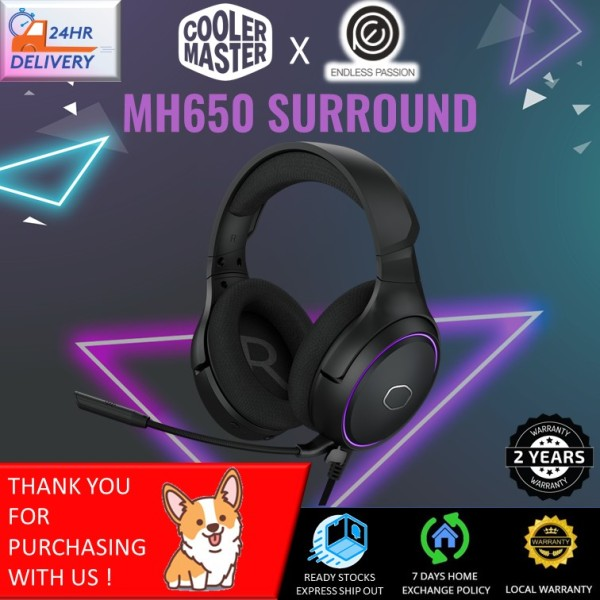 Cooler Master MH650 Gaming Headset with RGB Illumination, Virtual 7.1 Surround Sound, Omnidirectional Mic, and USB Connectivity [24 hours delivery]