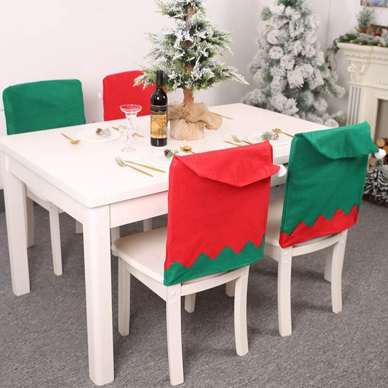 6Pcs Christmas Chair Covers Santa Claus Hat Slipcovers Christmas Elf Hat Chair Back Covers Decoration Red And Green Đang Ưu Đãi Giá