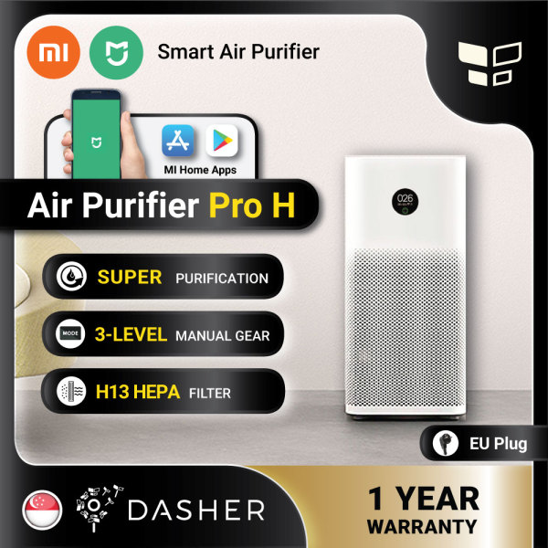 [GLOBAL] XIAOMI Air Purifier Pro H Smart Home Touch Screen OLED Display Low Noise Apps and AI Smart Control 3 Level Gear Singapore
