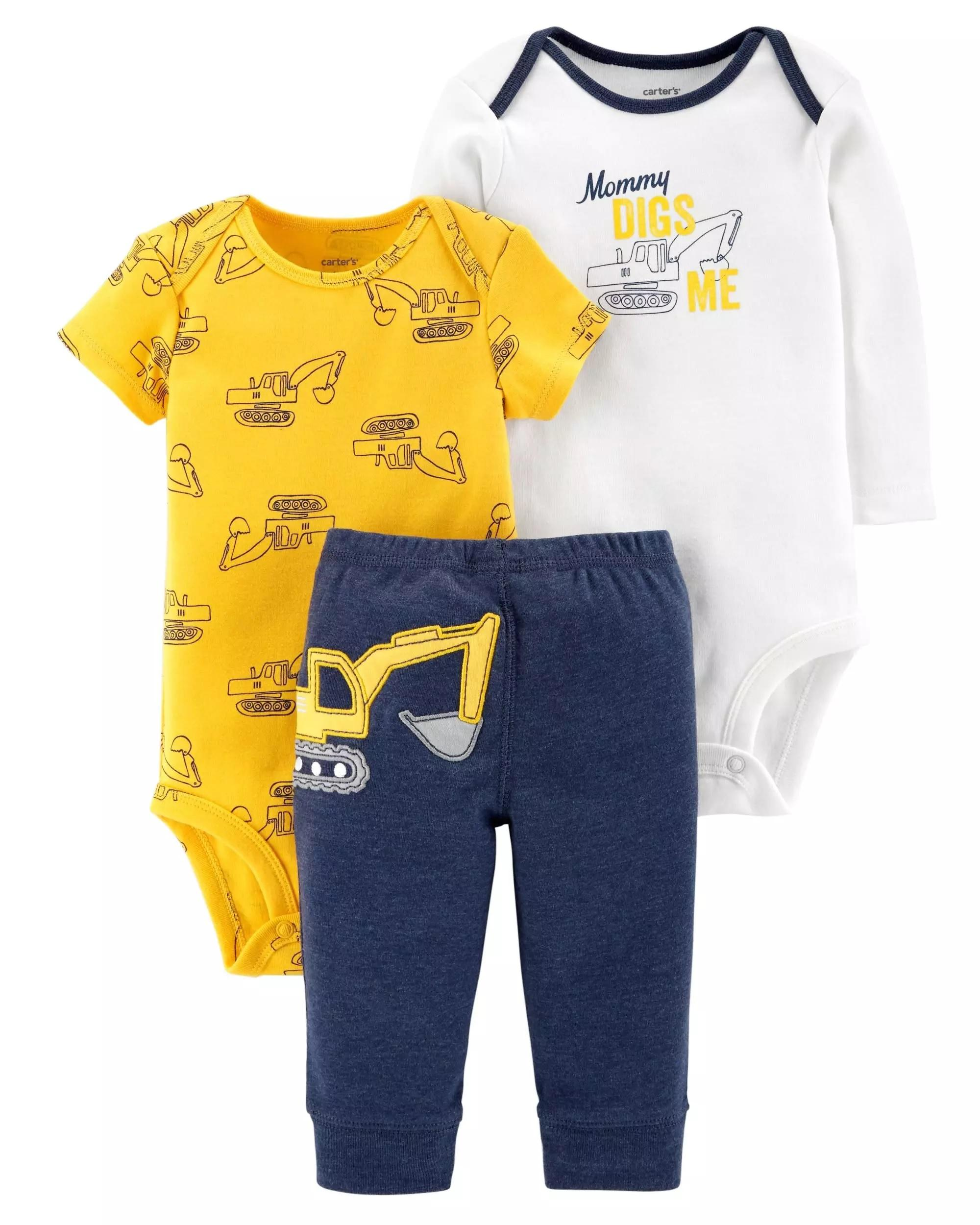 81640b5caf5a4 Carter's 3-Piece Little Character Set Yellow Navy Heather Carters