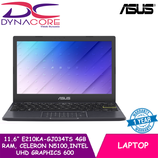 DYNACORE - ASUS LAPTOP 11.6 Inch E210KA-GJ034TS | N5100 Processor | Memory 4GB | Intel UHD Graphics 600 | WIN 10 HOME | 1 YEAR WARRANTY