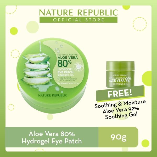 Buy Nature Republic Soothing & Moisture Aloe Vera 80% Hydrogel Eye Patch - for Normal Skin (90g) + Aloe Vera 92% Soothing Gel (8mL) Singapore