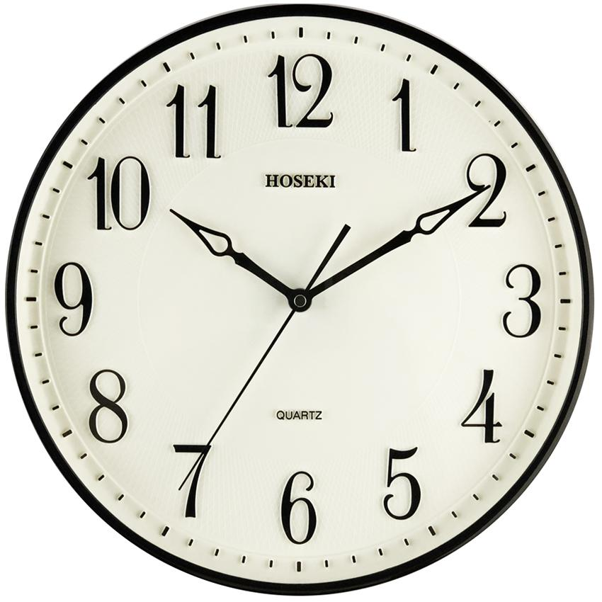 HOSEKI 14 Inch(34cm) H-9400 Round Quartz Wall Clock Silent Non-Ticking 3D Large Number Easy To Read Battery Operated Multiple Colour Choice For Living Kitchen Office Decoration