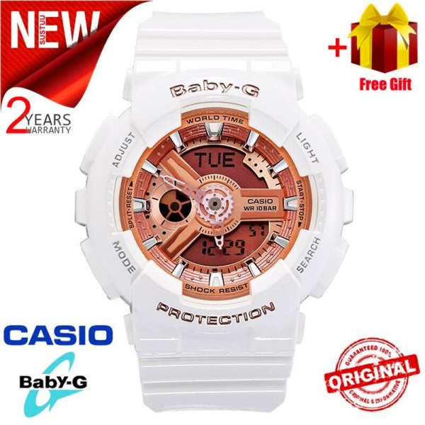 【Ready Stock】Original BABY G Ba-110-7A1 Women Sport Watch Duo W/Time 200M Water Resistant World Time Led Auto Light Wrist Sports Watches With 2 Year Warranty Ba110/Ba-110 Malaysia