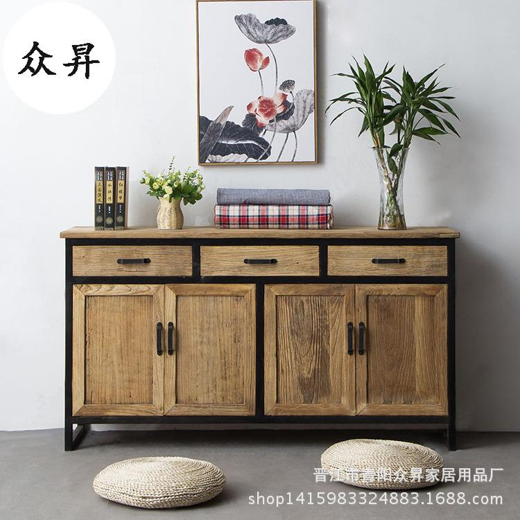 Classical Chinese Style Iron Art Entrance Solid Wood Cabinets Vintage Antique Finish Multilayer Chest of Drawers Industrial Wind Belt Drawer Locker
