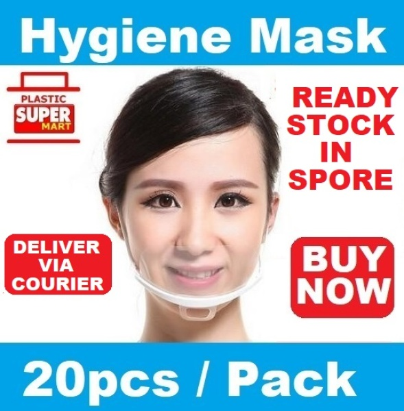 Buy [20pcs] Transparent Spit Guard Mask |  Food Hygiene Mouth Shield | Sneeze Droplets Protection Face Smile Kitchen Hawker Industries Cafe Salon Spas Clinic Mask Use Singapore