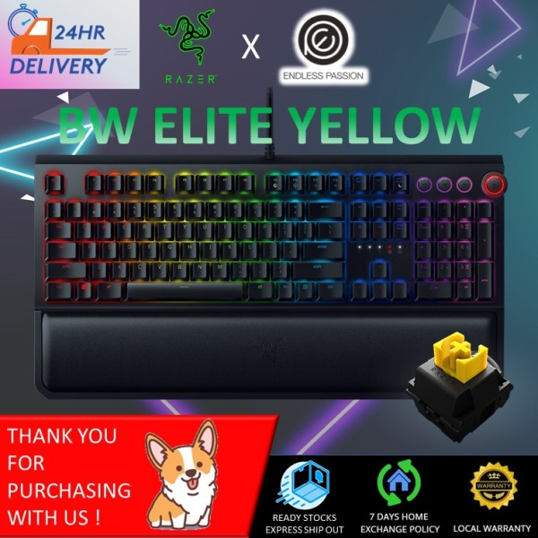 Razer Blackwidow Elite - Multi-Function Digital Dial with Dedicated Media Controls - Ergonomic Wrist Rest [24 hours delivery] Singapore