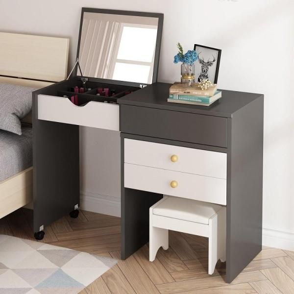 Grey Extendable Fold Down Mirror Dresser Makeup Table