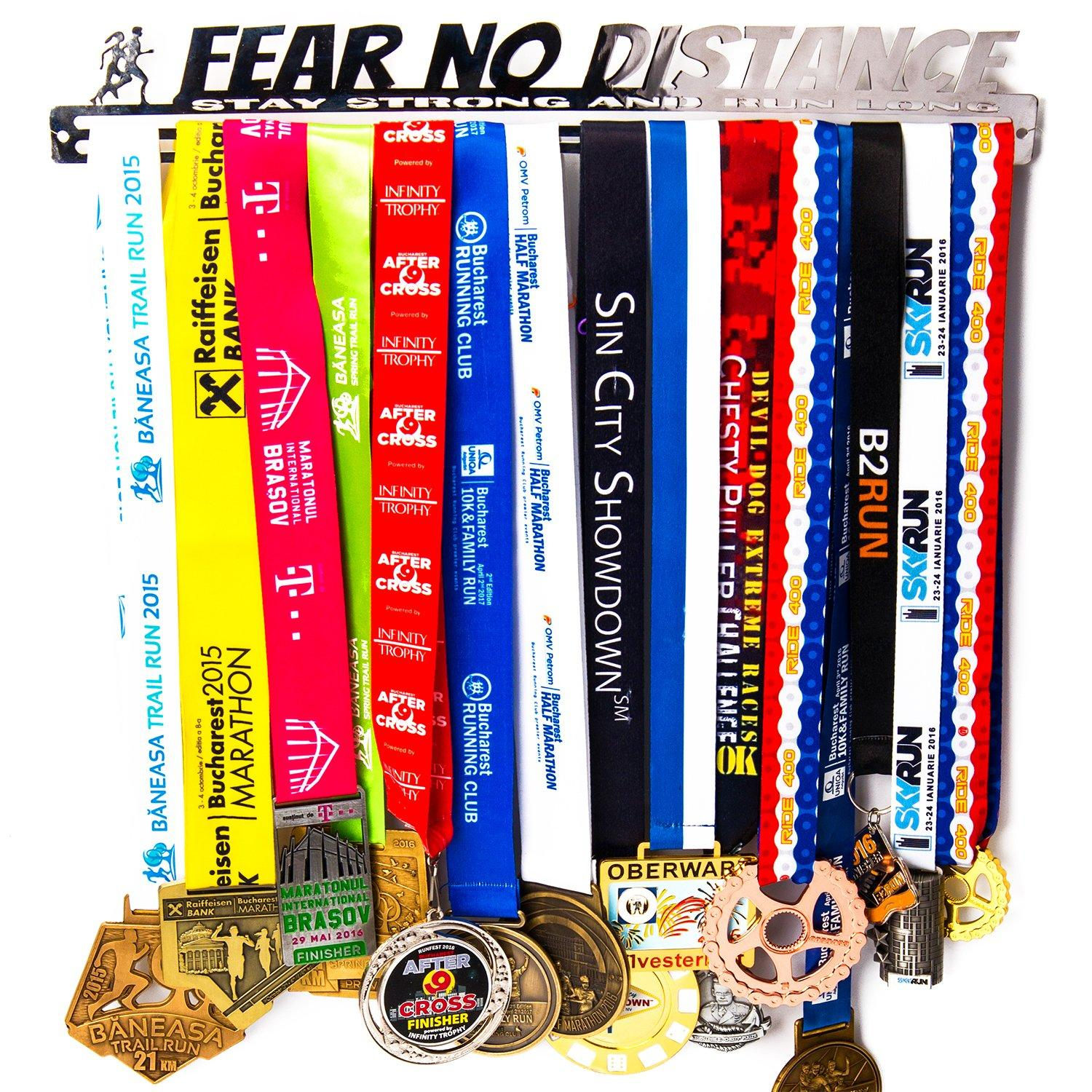 Medal Hanger Rack Display Wall Mount 30 Running Marathon Medals Fear No Distance Accessories Run Running Hanging Sports Achievement Silver Stainless Steel Screws Included