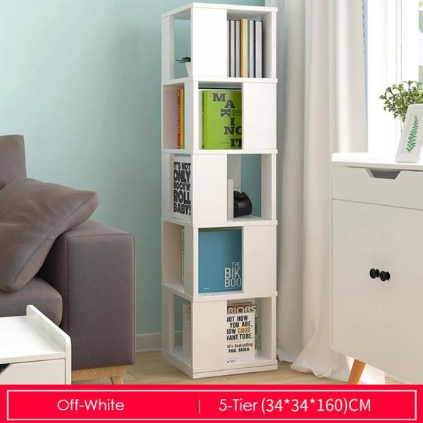 Off-white Rotating Wooden Storage Bookshelf-5 Tier