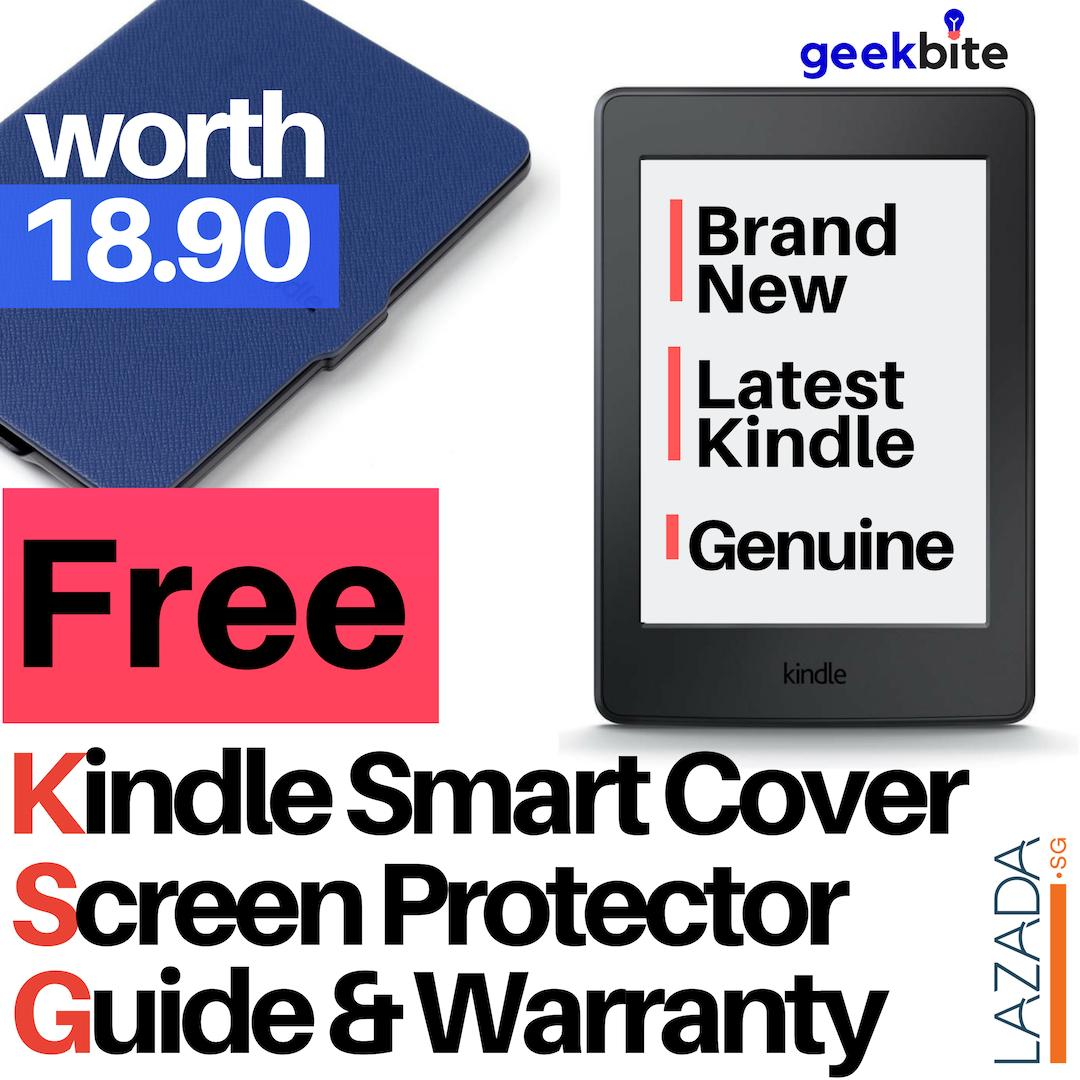 Cheapest GeekBite Amazon Kindle Paperwhite 4 Black + Kindle Smart Cover +  Screen Protector (Wifi/Special Offers)