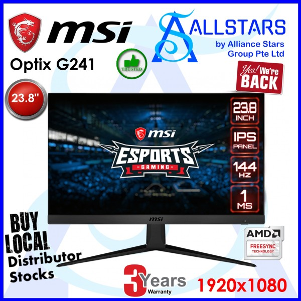 (ALLSTARS : We are Back / Screen Promo) MSI Optix G241 23.8 inch Full HD Monitor / IPS / 144Hz / 1ms / DP+HDMI (Warranty 3years on-site by MSI SG Service Center)