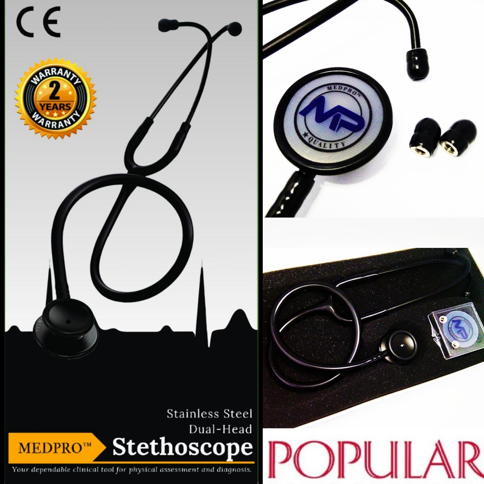 Medpro New Limited Edition: Light Weight Full Black Medical Dual-Head Stethoscope - Ce Approved For Medical Use / Nurses / Caregivers Ideal For Nurses/ Caregivers To Assess Physical Health By Medprosg Group.