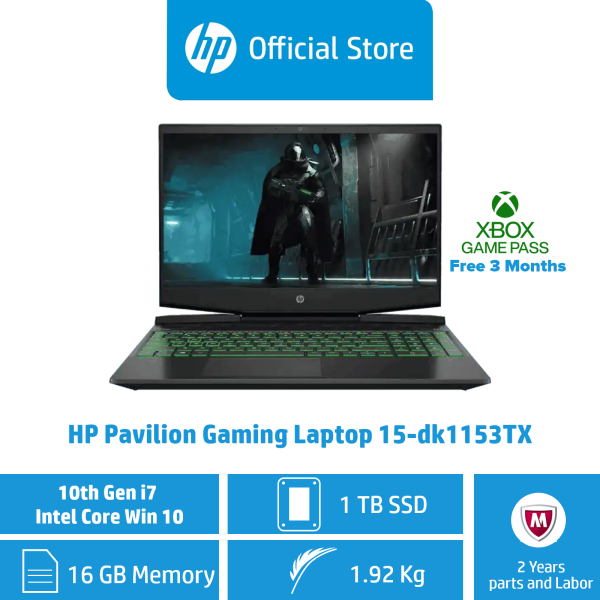 HP Pavilion Gaming Laptop 15-dk1153TX / Intel® Core™ i7-10750H / 16GB RAM / 1TB SSD / Win 10 / Gaming / 144 Hz Refresh Rate / NVIDIA® GeForce® GTX 1650
