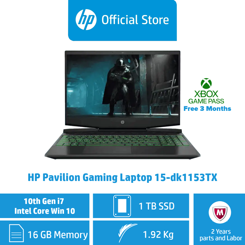 HP Pavilion Gaming Laptop 15-dk1153TX / Intel® Core™ i7-10750H / 16GB RAM / 1TB SSD / Win 10 / Gaming / 144 Hz Refresh Rate / NVIDIA® GeForce® GTX 1650
