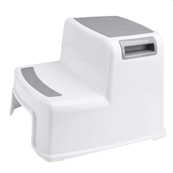 Wide+2 Step Stool For Kids Toddler Stool For Toilet Potty Training Slip Resistant Soft Grip For Safe As Bathroom Potty Stool And Kitchen Step Stool Dual Height