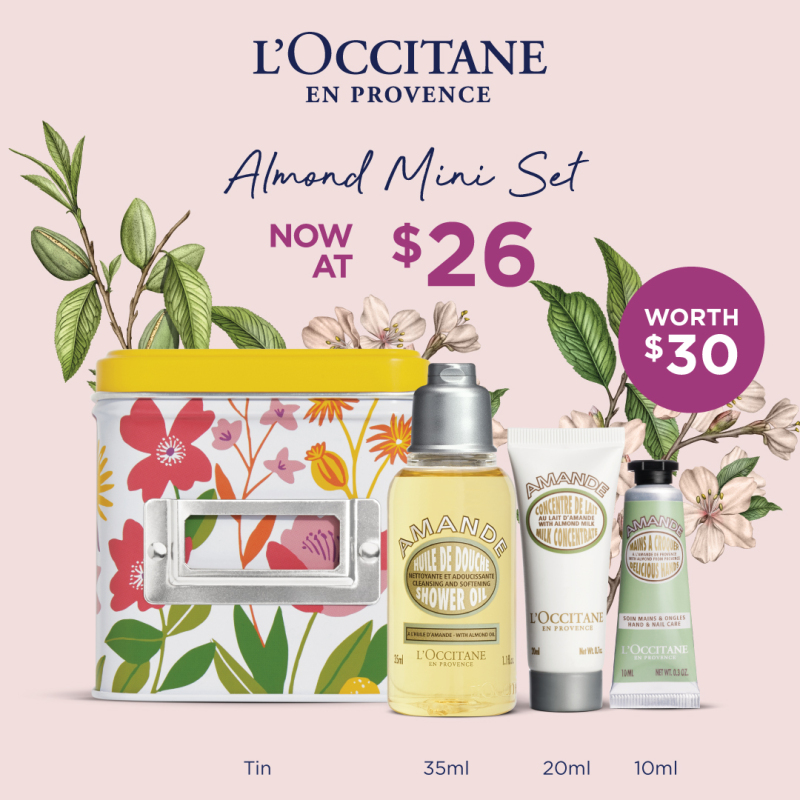 Buy [MOTHER'S DAY SET] L'OCCITANE – Almond Mini Set (worth $30) • includes Almond Shower Oil 35ml +Almond Delicious Hands 10ml + Almond Milk Concentrate 20ml + 2021 Mday Small Tin Box Singapore
