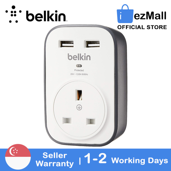 [SG Seller] Belkin SurgeCube 1 Way Surge Protector Wall Plug with 2 x 2.4A Shared USB Charger BSV103 White [Local Warranty]