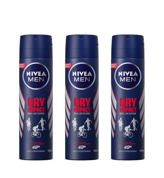 Buy (BUNDLE OF 3) NIVEA DEODORANT SPRAY DRY IMPACT (M) 150ML Singapore