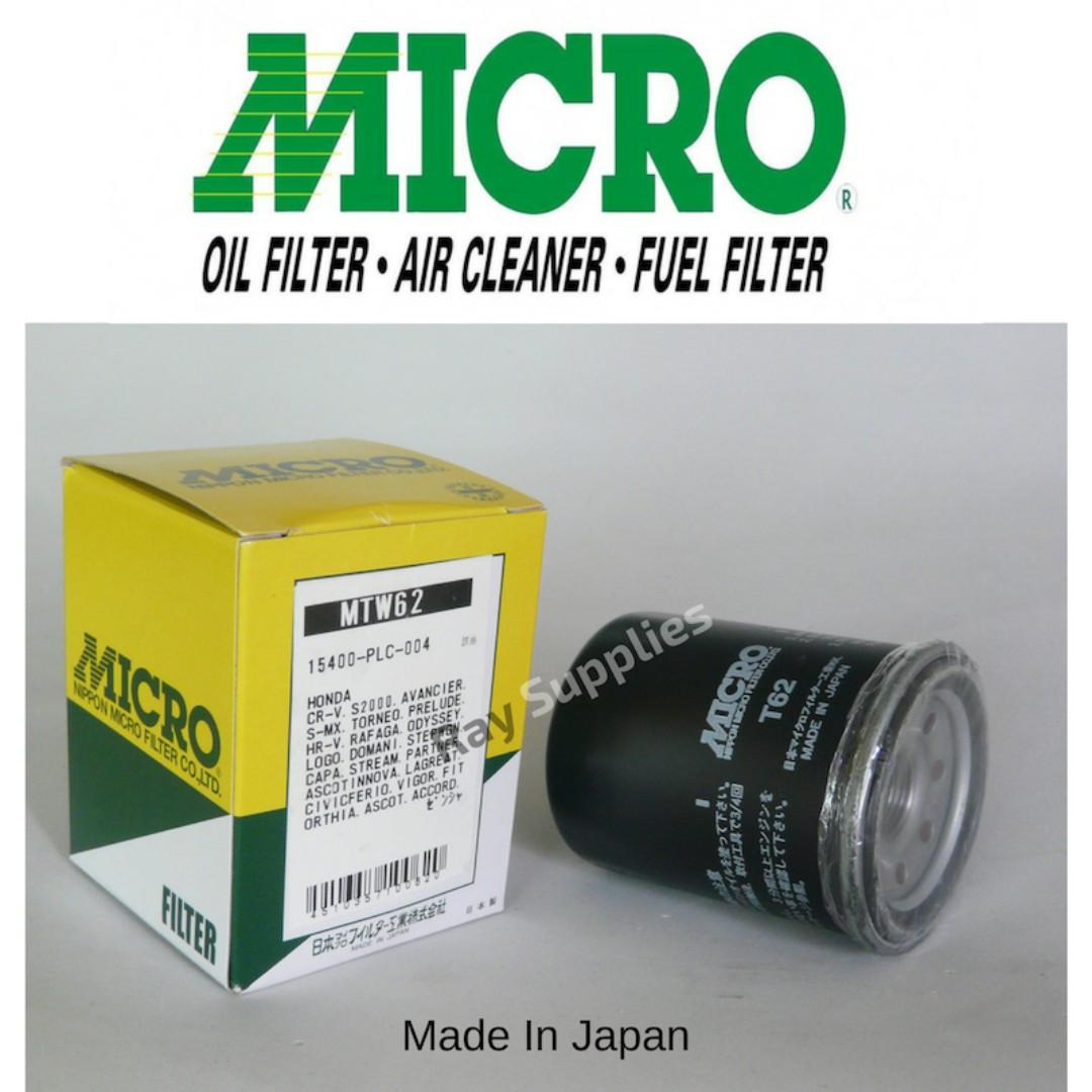 high quality nippon micro oil filter mtw62, 15400-plc-004 ,15400-