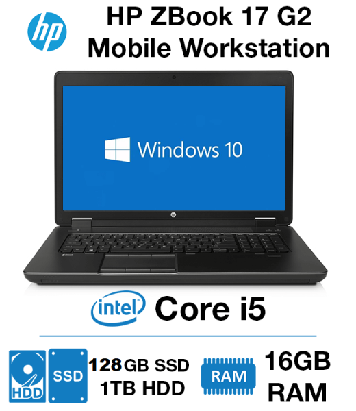 HP ZBOOK Workstation 17 G2 i5-4TH GEN / 16GB / 128GB SSD /1TB HDD / AMD Radeon  GRAPHICS /17INCH HD SCREEN / WINDOWS 10 PRO / Good for Business purpose / Designing / Gaming (Refurbished)