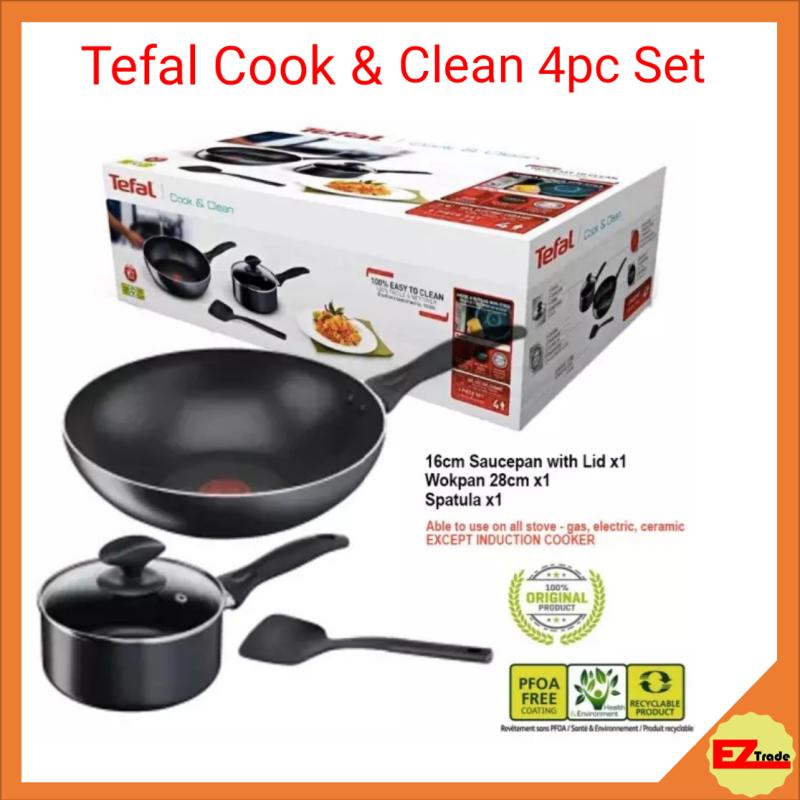 TEFAL COOK & CLEAN 4 PCS SET Frying Pan / Saucepan (16cm Saucepan W Lid + 28cm Wokpan + Spatula ) B225S4 Singapore