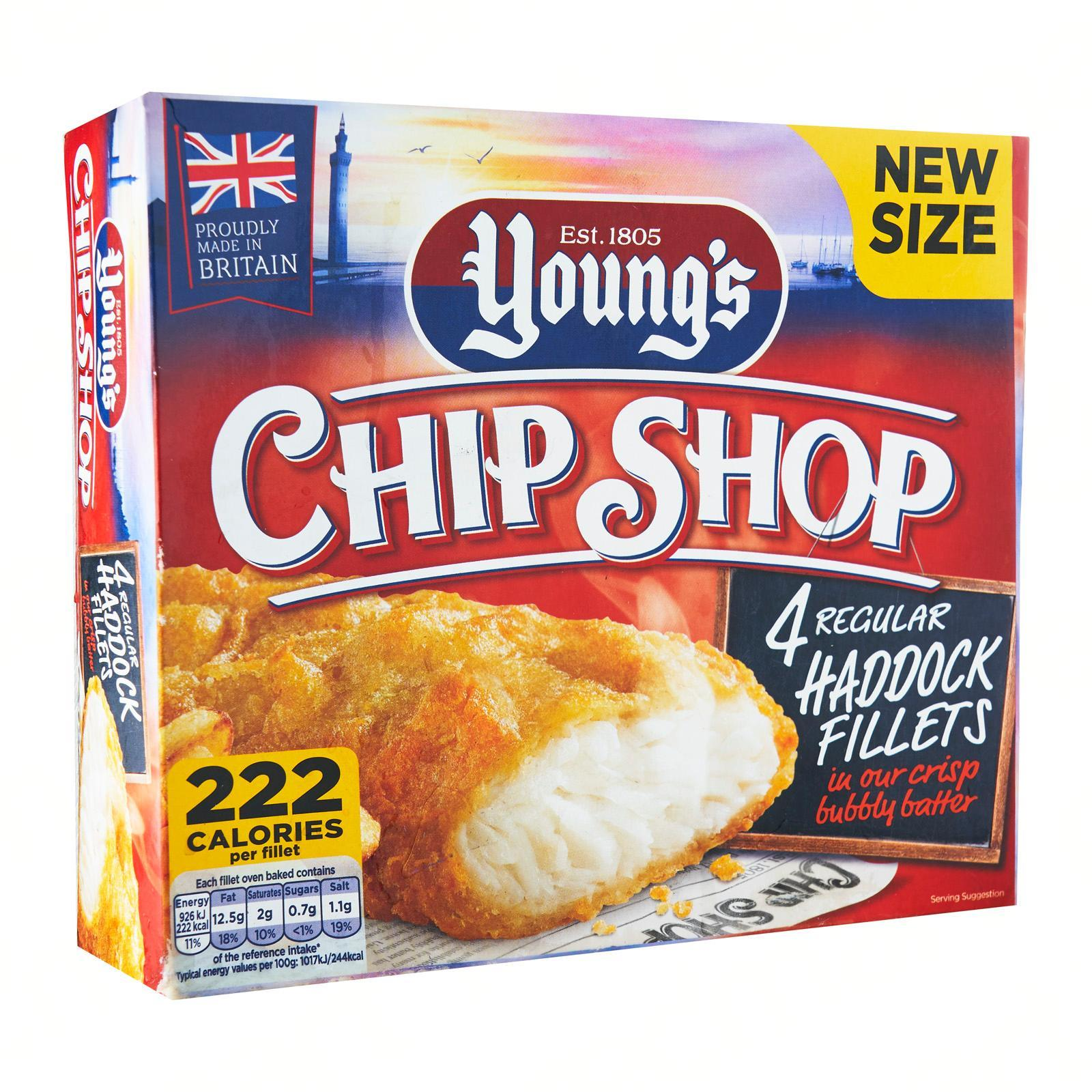 Young's Chip Shop 4 Large Crisp Bubbly Batter Haddock Fillets - Frozen